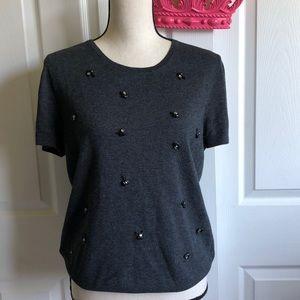 LOFT Short Sleeve Embellished Sweater